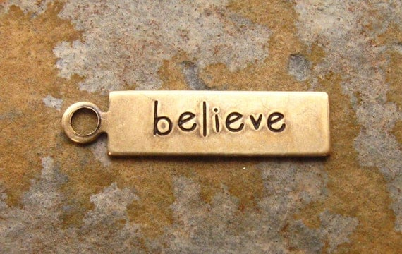 4 Antique Gold Patina BELIEVE Tags 5mm x 20mm -  Trinity Brass Co. LOW SHIPPING