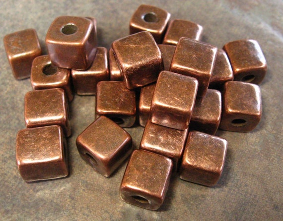 BRONZE 7mm Square Nuggets Greek Ceramic Beads (10)