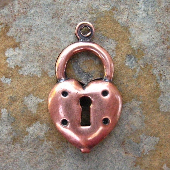 4 Antique Copper Heart Lock Charm 11mm x 20mm -  Trinity Brass Low Shipping
