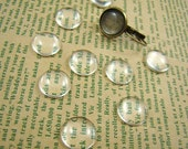 40pcs 12mm Glass Transparent Clear Round Cabochon Cameo Cover Cabs BCG001