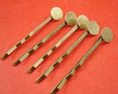 20pcs 48mm Antique Bronze Bobby Pins With 8mm Round Pad HA118