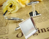 8pcs Silver Tone Nickel-free Cuff Links With 17mm Square Base Setting HA608