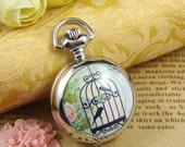 1pcs Vintage Birdcage Silver Locket Necklace Watch Pendant LK822