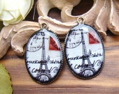 4pcs 18x25mm Handmade Resin Cabochon Pendant With Bronze Base Settings -- Eiffel Tower RP433A
