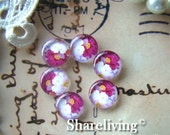 Glass Cabochon, 8mm 10mm 12mm 14mm 16mm 20mm 25mm 30mm Round Handmade photo glass Cabochons (Flower)  -- BCH083D
