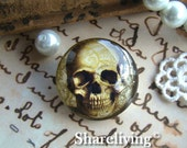 Glass Cabochon, 8mm 10mm 12mm 14mm 16mm 20mm 25mm 30mm Round Handmade photo glass Cabochons   (Skull)  -- BCH719A