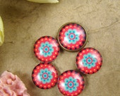 Glass Cabochon, 8mm 10mm 12mm 14mm 16mm 20mm 25mm 30mm Round Handmade photo glass Cabochons - Flower Collection BCH020J