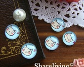 Glass Cabochon, 8mm 10mm 12mm 14mm 16mm 20mm 25mm 30mm Round Handmade photo glass Cabochons (Cat) - BCH039C