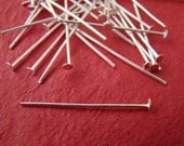 LOT OF 160ps 40mm SILVER PLATED HEADPINS FINDING CI084