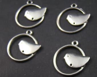 50% OFF SALE - 20pcs 21mm Antique Silver Metal Birds Charm Pendant AY147