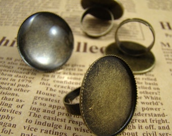 10PCS Antique Brass Nickel Free Ring With Round 25mm Pad Cameos Setting RI409
