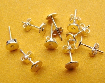 40pcs Silver Plated Earring Studs, Earring Posts With 6mm Pad and  Back Stoppers EA309