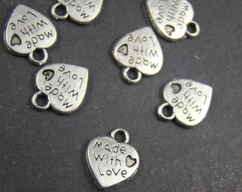 50% OFF SALE - 60pcs 12mm Silver Made With Love Charm Drop Pendant AY534