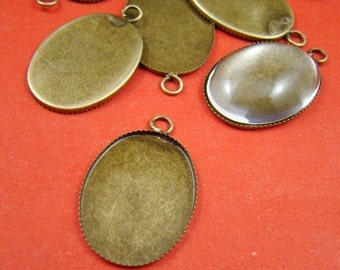 50PCS 25x18mm Antique Bronze Oval Gemstones Cameo Base Setting Charm BS214