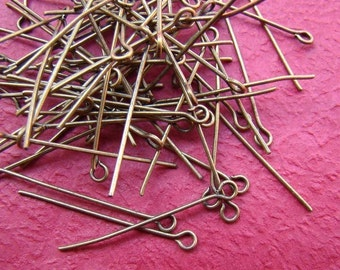 180ps 30mm Antique Bronze Eye Pin Findings PI007
