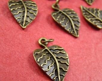 50% OFF SALE - 10pcs 21x13mm Antique Bronze Leaf Charm With Jumpring AB315
