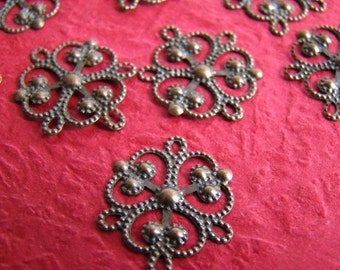 50% OFF SALE - 60pcs 20mm Antique Bronze Filigree Wrap / Connector CWS201