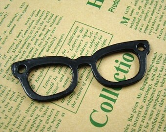 50% OFF SALE - 2PCS 75X25Mm Black Eyeglasses Charm Drop Pendant Bt804