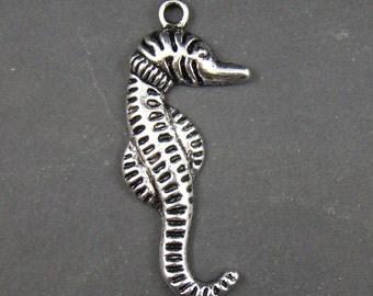 50% OFF SALE - 4pcs 68mm Antique Silver Seahorse Charm Pendant AY282