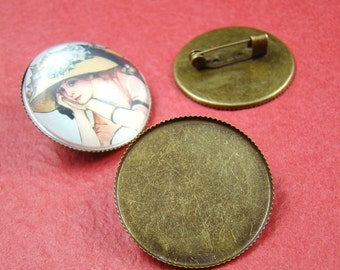 8pcs Antique Bronze Brooch Back 30mm Round Base Setting With Safety Pin HA311