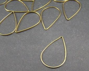 20pcs 16mm Antique Raw Brass Smooth Closed Tear Drip Rings Circles JP413