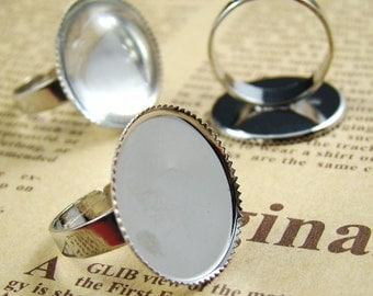 10pcs Silver Plated  Nickel Free With 20mm Round Ring Base RI425