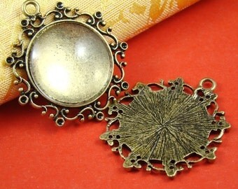 2PCS Antique Bronze Cameo Base Setting Pendant With Free 25MM Glass Cabochon AS338