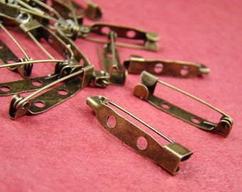 15pcs 25mm Antique Bronze Safety Pin Back Base HA509