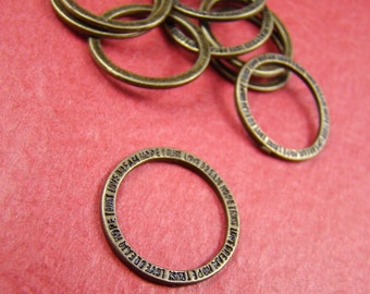 50% OFF SALE - 10pcs 20mm Antique Bronze Closed Rings Circles With Letter Texture  AB851