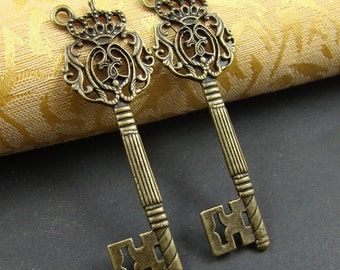 50% OFF SALE - 12PCS 70mm Antique Bronze Metal Huge Victorina Crown Royal  Key Charm AB020