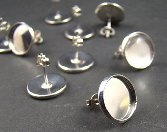 200pcs Silver  Earring Posts With Round 12mm Pad EA320