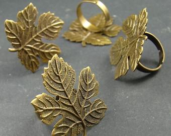 50% OFF SALE - 5pcs 34x30mm Antique Bronze  Adjustable Nickel Free Leaf Rings Base RI317