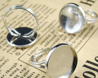 5pcs Silver Nickel Free With 16mm Round Ring Base RI428