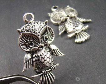 50% OFF SALE - 6pcs 39X26Mm Antique Bronze Owl Charm Pendant Ay175