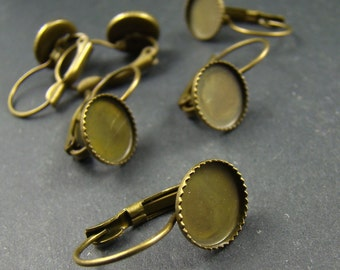 10pcs Antique Brass French Earwires Hook With 10mm Pad EA636