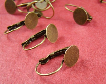 10pcs Antique Bronze French Earwire Earring Hook With 10mm Flat Round Pad EA635