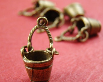 50% OFF SALE - 10pcs 22x12mm Antique Bronze 3D Bucket Charm Pendant Ab934