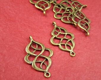10PCS 27X18MM Antique Bronze Chinese Knot Charm Connector Pendant Ab715