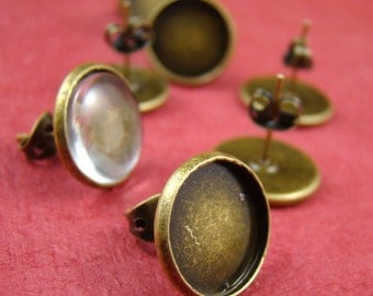 20pcs Antique Solid Brass Earring Posts With Round 12mm Pad EA319