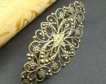 2pcs 80mm Antique Bronze Hair Clips With Filigree Wrap HA209