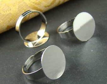 10pcs Nickle Free Silver Tone Adjustable Ring blanks With 15MM Flat Pad RI208
