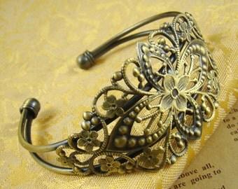 1pcs 80x35mm Antique Bronze Brass Bracelet With Filigree Pad RI508