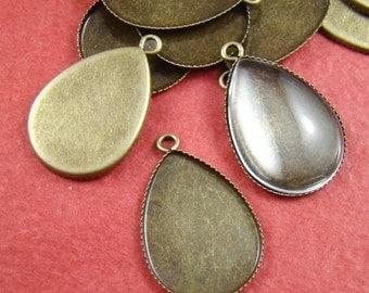 100PCS 25X18MM Antique Bronze Teardrop Gemstones Cameo Or Cab Base Setting Bs272