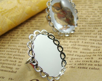 4pcs Silver Ring Blank  With Double Lace Edge 25x18mm Base Setting RI607