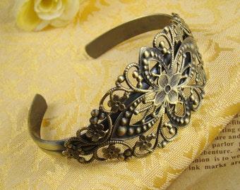 2pcs 80x35mm Antique Bronze Brass Bracelet With Filigree Pad RI510