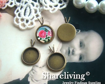 10pcs Antique Bronze 12mm Round Cameo Base Setting Charm / Pendant BS291