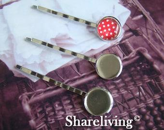 100pcs Silver Tone Bobby Pin With 12mm Cameo Base Setting HA183