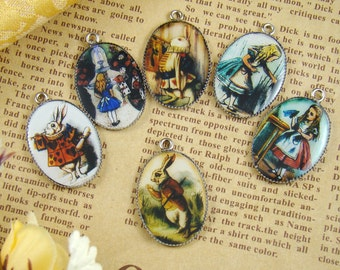 6pcs 25x18mm Alice In Wonderland Collection  Resin Cabochon Pendant With Silver Base Settings RP418F