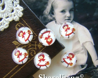 Glass Cabochon, 8mm 10mm 12mm 14mm 16mm 20mm 25mm 30mm Round Handmade photo glass Cabochons  (Little Red Riding Hood) -- BCH012F