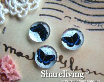 Time Limited Offer - 20% OFF - 10pcs 12mm Handmade Photo Glass Cabochon / Wooden Cabochon (Butterfly) - BCH049G